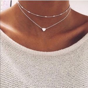 Jewelry - Double Strand Silver Heart Necklace